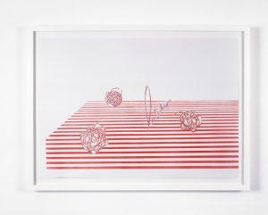 Clare Stephenson, La Technique, 2003, pencil and aerosol paint on paper, 59 x 84 cm