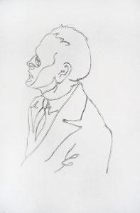 Clare Stephenson, Genet Portrait, 2003, pencil on paper, 43.5 x 32 cm