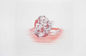 Clare Stephenson, La Caricature, 2004, pencil and aerosol paint on paper, 55 x 59.5 cm