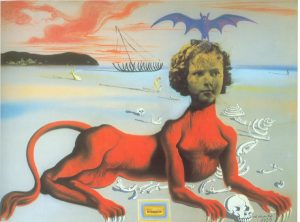 Salvador Dalí, Shirley Temple, the Youngest, Most Sacred Monster of the Cinema in her Time, 1939, wash, pastel, collage on cardboard, 75 x 100 cm, Museum Boijmans Van Beunigen, Rotterdam