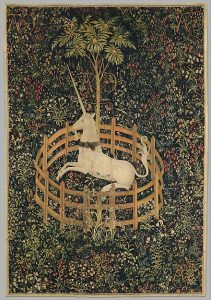 The Unicorn in Captivity (from the Unicorn Tapestries), 1495–1505, wool/ silk tapestry, 368 x 251.5 cm), Metropolitan Museum of Art