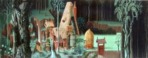 Eyvind Earle Sleeping Beauty (the fairies' house in the forest, preliminary study) c.1949, gouache Burbank, California, Walt Disney Feature Animation and the Animation Research Library